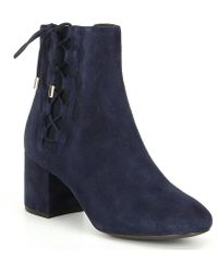 Cole Haan - Leah Suede Side Lace Block Heel Booties - Lyst