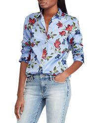 Lauren by Ralph Lauren - Petite Size Stripe Floral Print Sateen Shirt - Lyst