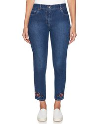 Ruby Rd. - Flat Front Stretch Embroidered Hem Straight Ankle Jeans - Lyst