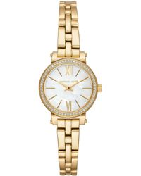 e03d4670f313 Michael Kors Bryn Stainless Leather-Strap Watch in Metallic - Lyst
