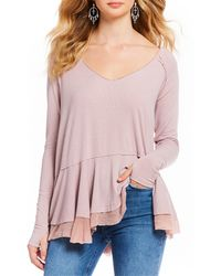e78a56bf44 Urban Outfitters · Free People - Tangerine Rib Knit Tee - Lyst