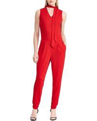 2ba64fb57b6 Lyst - Lauren By Ralph Lauren Plus Size Straight-leg Jumpsuit in Black