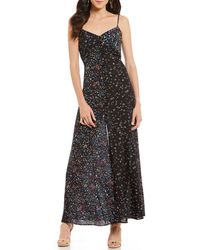 French Connection - Aubine Ditsy Floral Print Slit Front Victorian Maxi Slip Dress - Lyst