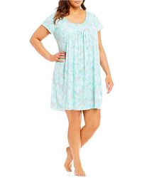 Miss Elaine - Plus Softknit Floral Short Nightgown - Lyst