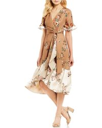 Antonio Melani - Kristy Floral Print Bell Sleeve Midi Length Wrap Dress - Lyst