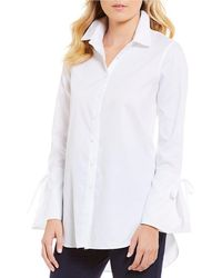 CALVIN KLEIN 205W39NYC - Non-iron Pinpoint Oxford Long Sleeve Split Bell Cuff With Tie Shirt - Lyst