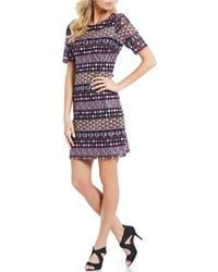 Adrianna Papell - Gogo Embroidered Dress - Lyst