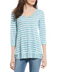 Bobeau - Striped V-neck Hi-low Knit Top - Lyst
