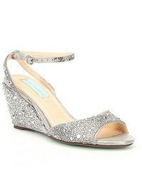 Betsey Johnson - Blue By Elora Rhinestone Jeweled Metallic Wedge Sandals - Lyst