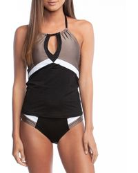 58ead727b4 Kenneth Cole - Across The Atlantic Keyhole Color Block Tummy Toner Tankini  Swimsuit Top - Lyst