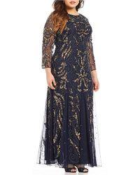 Pisarro Nights - Plus Long Sleeve Beaded Gown - Lyst
