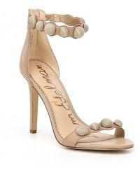 Sam Edelman | Addison Button Detail Leather Dress Sandals | Lyst
