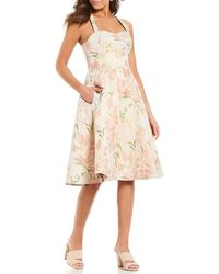 71c9e6984cf Gianni Bini - Gina Jacquard Floral Print Sweetheart Neck A-line Midi Dress  - Lyst
