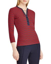 a3a80c7ba59 Lauren by Ralph Lauren - Petite Size Lace-up Striped Cotton Top - Lyst