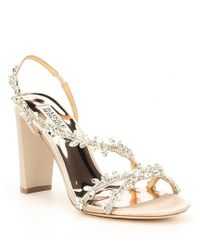 69190f070011 Badgley Mischka Hooper Satin Pearl Detail Block Heel Dress Sandals ...