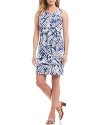 6328bc4f7af Lyst - Tommy Bahama Frond Song Flounce-sleeve Ponte Dress in Blue
