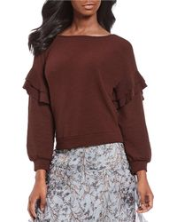 Chelsea & Violet - Ruffle Bishop Sleeve Boat Neck Knit Sweater - Lyst