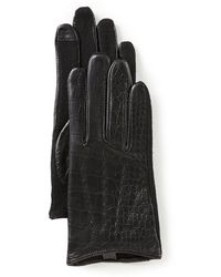 Lauren by Ralph Lauren - Crocodile-embossed Leather Touch Gloves - Lyst