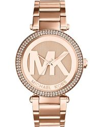 Michael Kors - Parker Stainless Steel Logo Dial Watch - Lyst