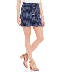 Sugarlips - Vella Stripe Button Front Denim Mini Skirt - Lyst