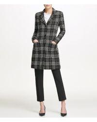 Donna Karan - New York Exploded Plaid Tweed Three Button Topper Jacket - Lyst