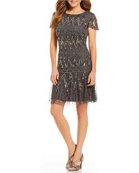 Pisarro Nights - Short Sleeve Sequin Beaded A Line Dress - Lyst