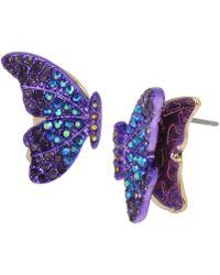 Betsey Johnson - Two-tone Pavé Butterfly Stud Earrings - Lyst