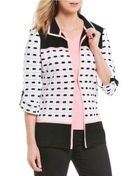 Ming Wang - Lapel Neckline Coloblock Jacket - Lyst