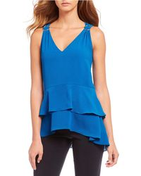299a129e3aa3f Lyst - Michael Michael Kors Chambray Off-the-shoulder Top in Blue