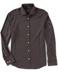 Murano - Slim-fit Printed Long-sleeve Coatfront Shirt - Lyst