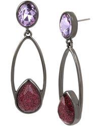Kenneth Cole - Geometric Stone Long Drop Earrings - Lyst