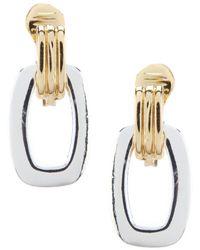 Anne Klein - Two Tone Clip Drop Earrings - Lyst
