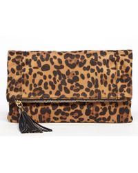 Sole Society - Tasia Tasseled Leopard Foldover Clutch - Lyst