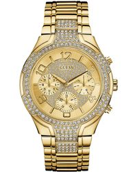 Guess - Multifunction Crystals And Stainless Steel Multifunction Bracelet Watch - Lyst
