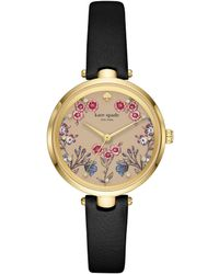 Kate Spade - Holland Black Leather Strap Watch 34mm - Lyst