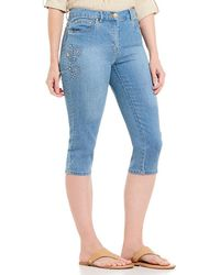 Ruby Rd. - Petite Size Flat Front Embellished Stretch Denim Capri - Lyst