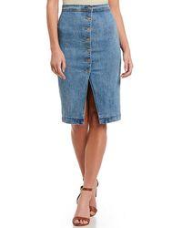Gianni Bini - Lacey Asymmetrical Denim Midi Skirt - Lyst
