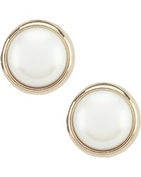 Lauren by Ralph Lauren - Pearl Bezel Earrings - Lyst