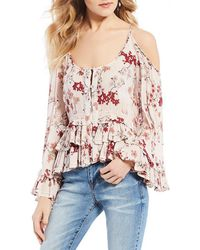 Patrons Of Peace - Ruffle Cold Shoulder Top - Lyst