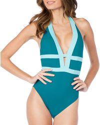 272369a3d8 La Blanca - Modern Muse Plunge V-neck Mip Tummy Toner One Piece Swimsuit -