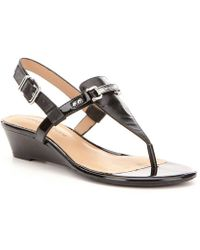 Antonio Melani - Amirah Leather Thong Wedge Sandals - Lyst