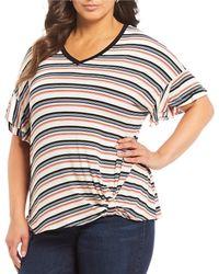 460bf4b63d4 Democracy - Plus Size Short Double Ruffle Sleeve Stripe Side Knot Top - Lyst
