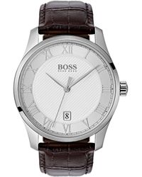 BOSS - The Boss Watches Master Collection Leather Watch - Lyst