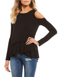 Soprano - Cold Shoulder Ruffle Hem Top - Lyst