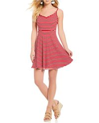 Angie - Striped Fit-and-flare Dress - Lyst