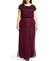 Adrianna Papell - Plus Beaded Bodice Blouson Gown - Lyst