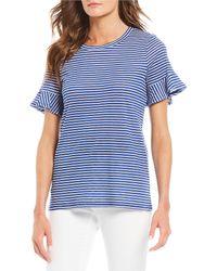 1fa52c4aea2 MICHAEL Michael Kors - Mini Railroad Stripe Print Short Ruffle Sleeve Knit  Tee - Lyst