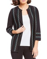 Misook - Jewel Neck Faux Leather Trim Jacket - Lyst