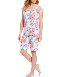 Karen Neuburger - Floral-print Knit Bermuda Shorts Pyjama Set - Lyst
