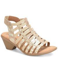 Comfortiva - Fran Metallic Suede Caged Slingback Block Heel Sandals - Lyst